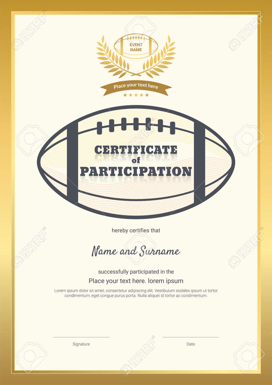Certificate template sport theme with border frame, Diploma design - 165443841