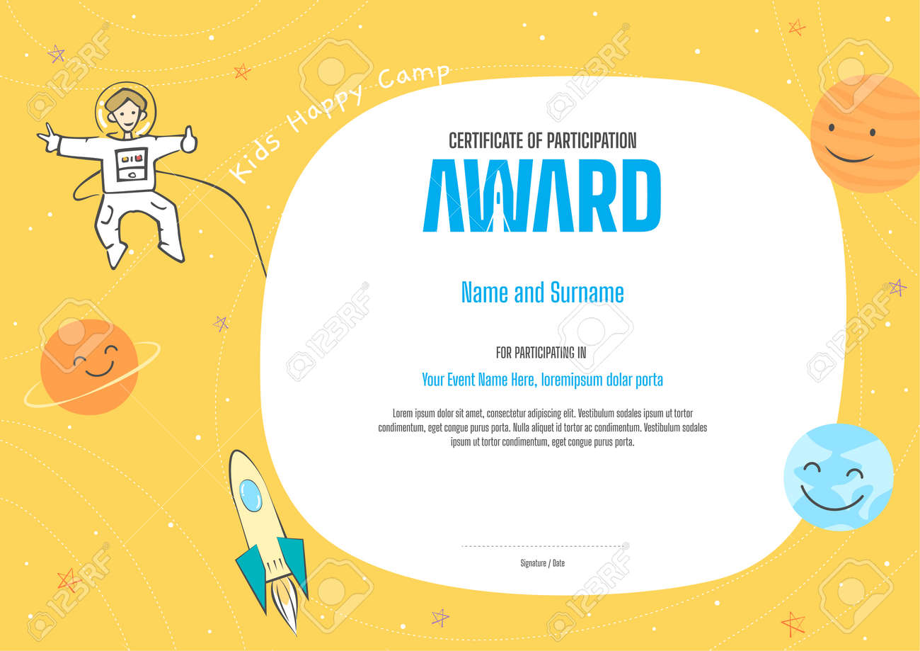 Kids Diploma or certificate template with colorful background for kid camp - 165341250