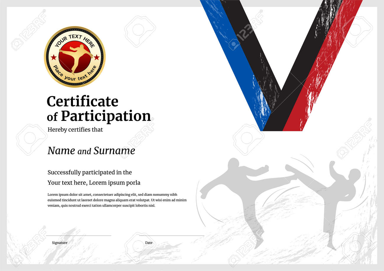 Certificate template sport theme with border frame, Diploma design - 165347512