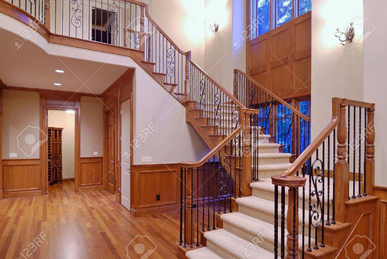Grand Staircase In A Luxury American Home Stock Photo   2257427