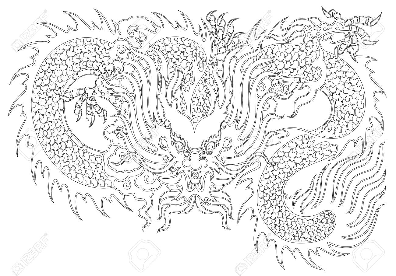 Dragon Painting Chinese Style On White Background From Illustrator ...