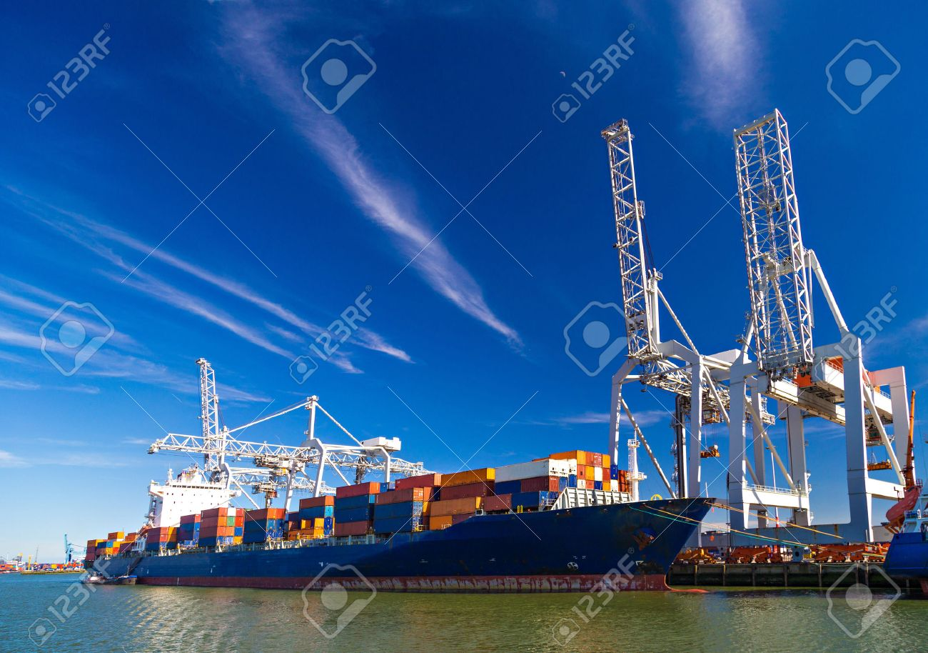 Large container vessel unloaded in Port of Rotterdam, Netherlands - 43235974