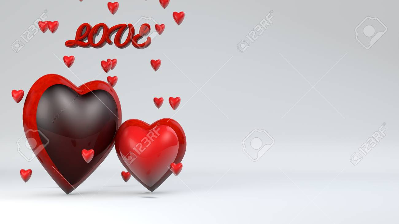 Happy Valentine S Day Love 3d With Hearts Stock Photo Picture And