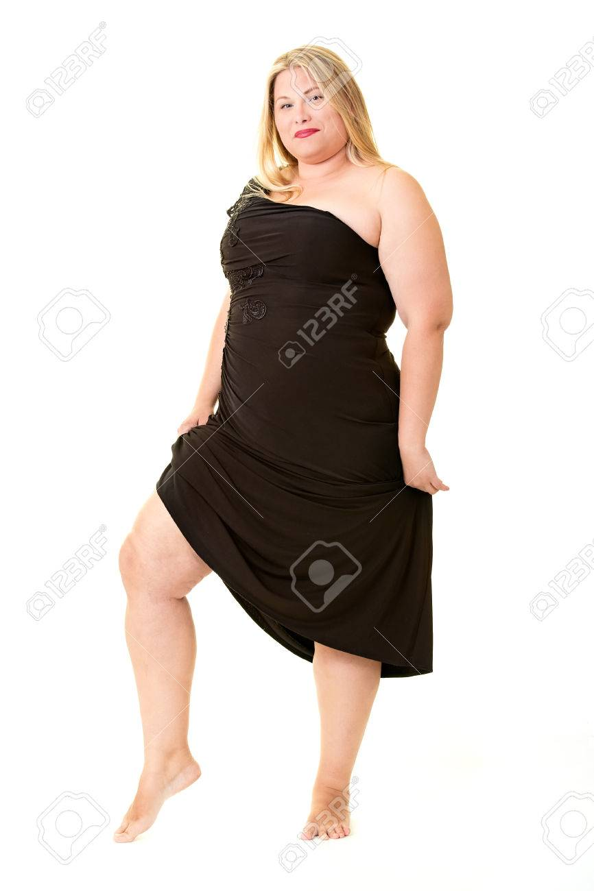 f9669f806a Attractive Overweight Woman In Black Evening Dress