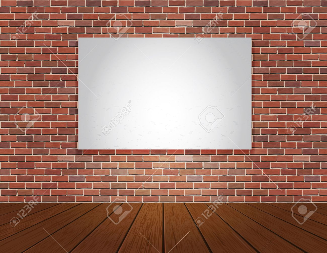 Red brick wall and wood floor background. Vector illustration. Stock Vector - 32051029