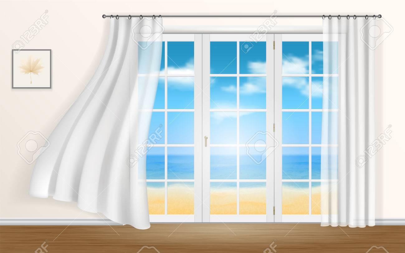 Blick aus dem fenster meer  Der Blick Aus Dem Fenster Auf Das Meer Und Den Strand. Vorhänge Im ...
