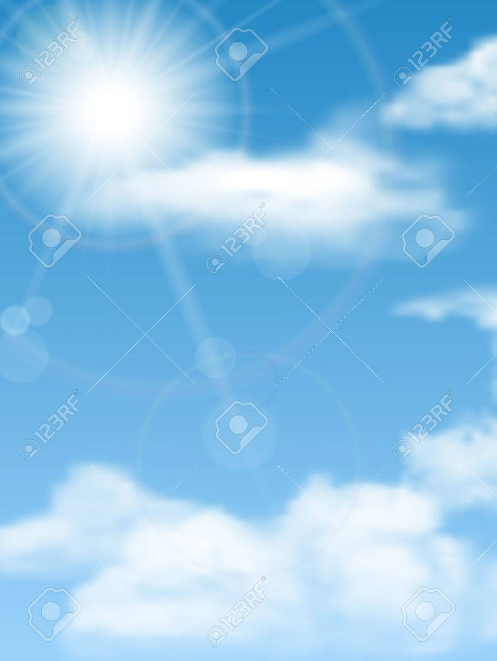 cloudscape with sun Stock Vector - 32651262