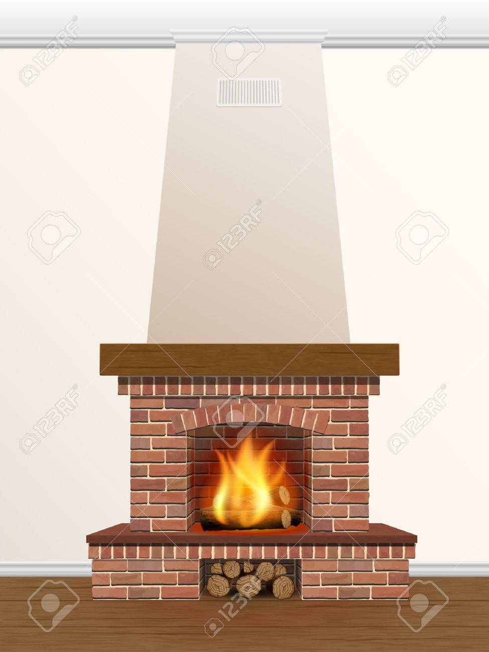 Brick Fireplace With Fire And Firewood Royalty Free Cliparts
