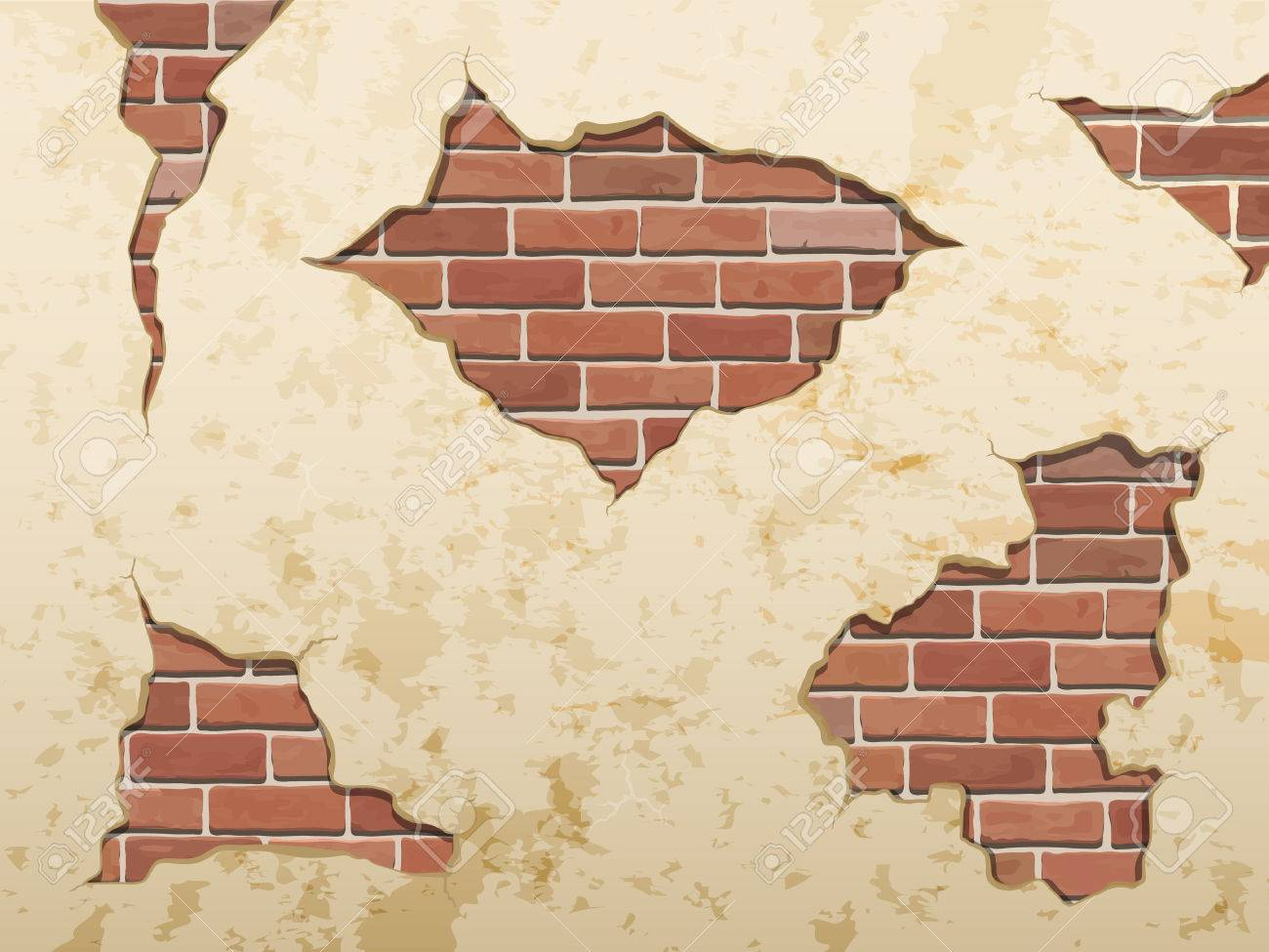 The old shabby concrete and brick cracks. Separate elements wall decor. Vector set. Stock Vector - 36629208