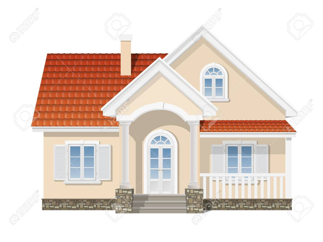 suburban house with a red tile roof Stock Vector - 37162820