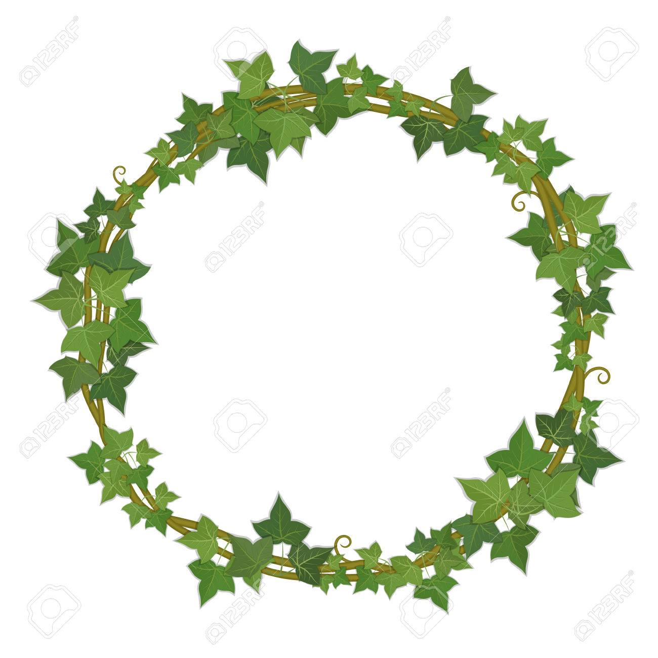 Round frame with decorative branch vector illustration stock - Round Decorative Frame Of Ivy Branches Stock Vector 37390248
