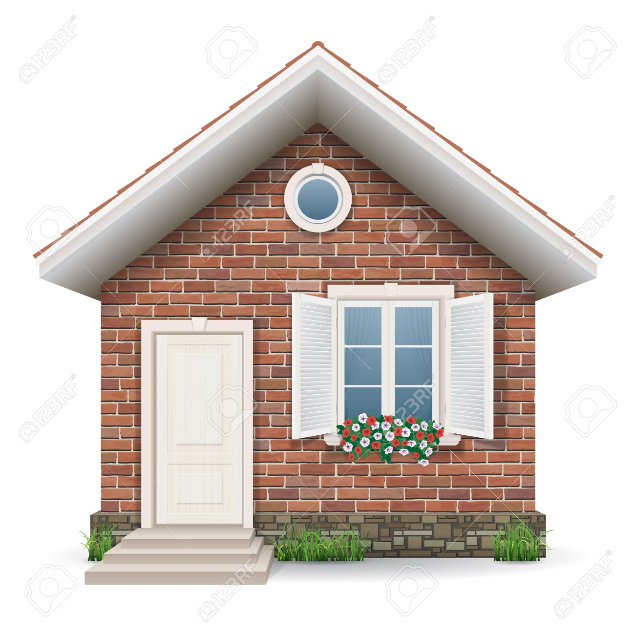 Small brick residential house with a window, door, grass and flower pots. Stock Vector - 39571882