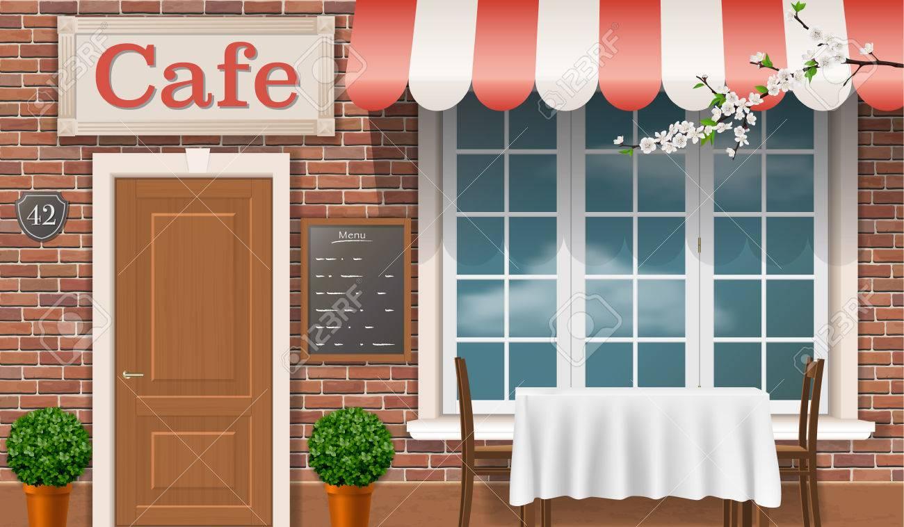 Vettoriale Facciata Di Un Caffe Tradizionale Con Una Porta