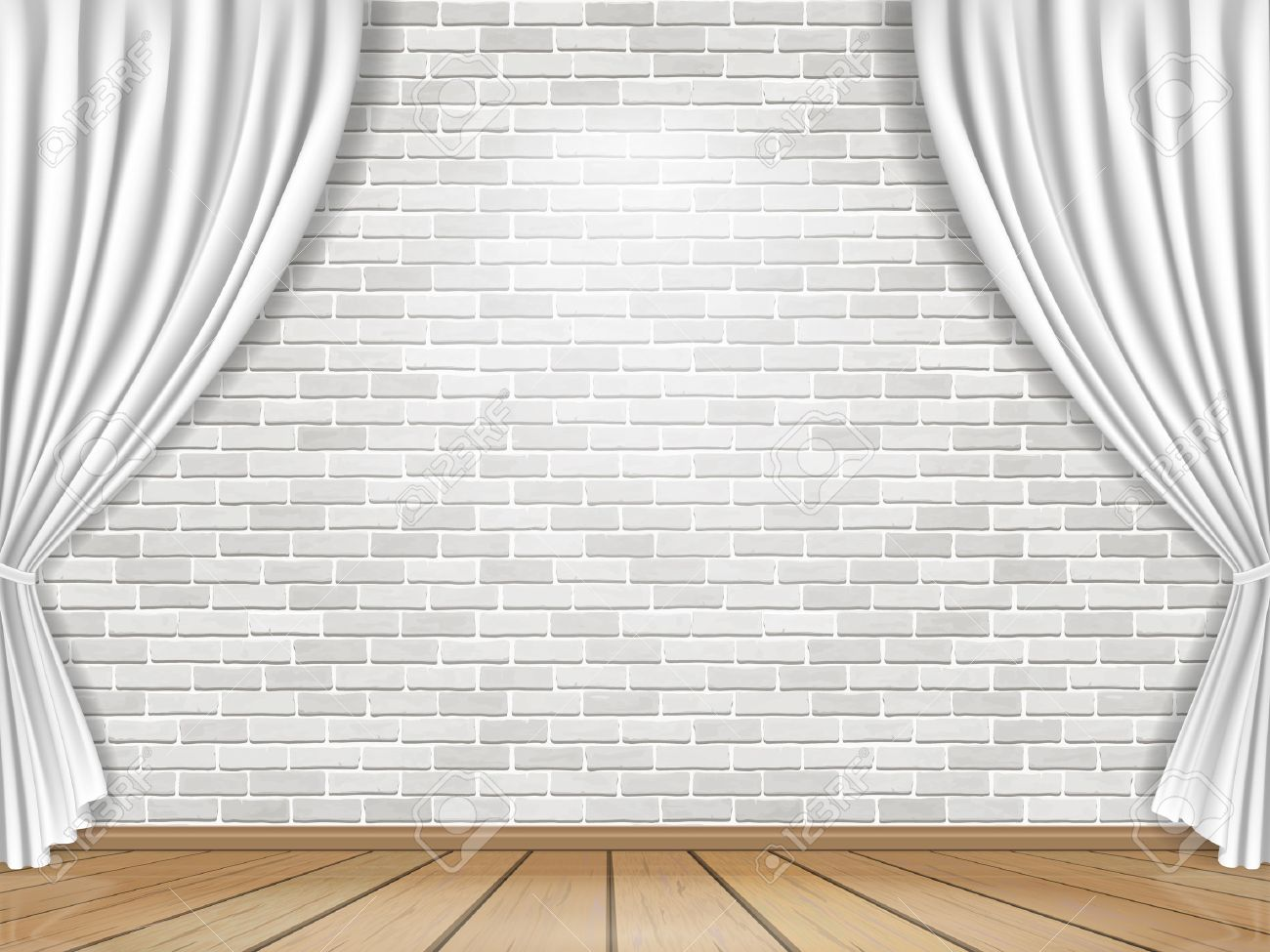 Royalty free or white curtain background drapes royalty free stock - Stage With White Curtains On Brick Wall Background Stock Vector 43340256