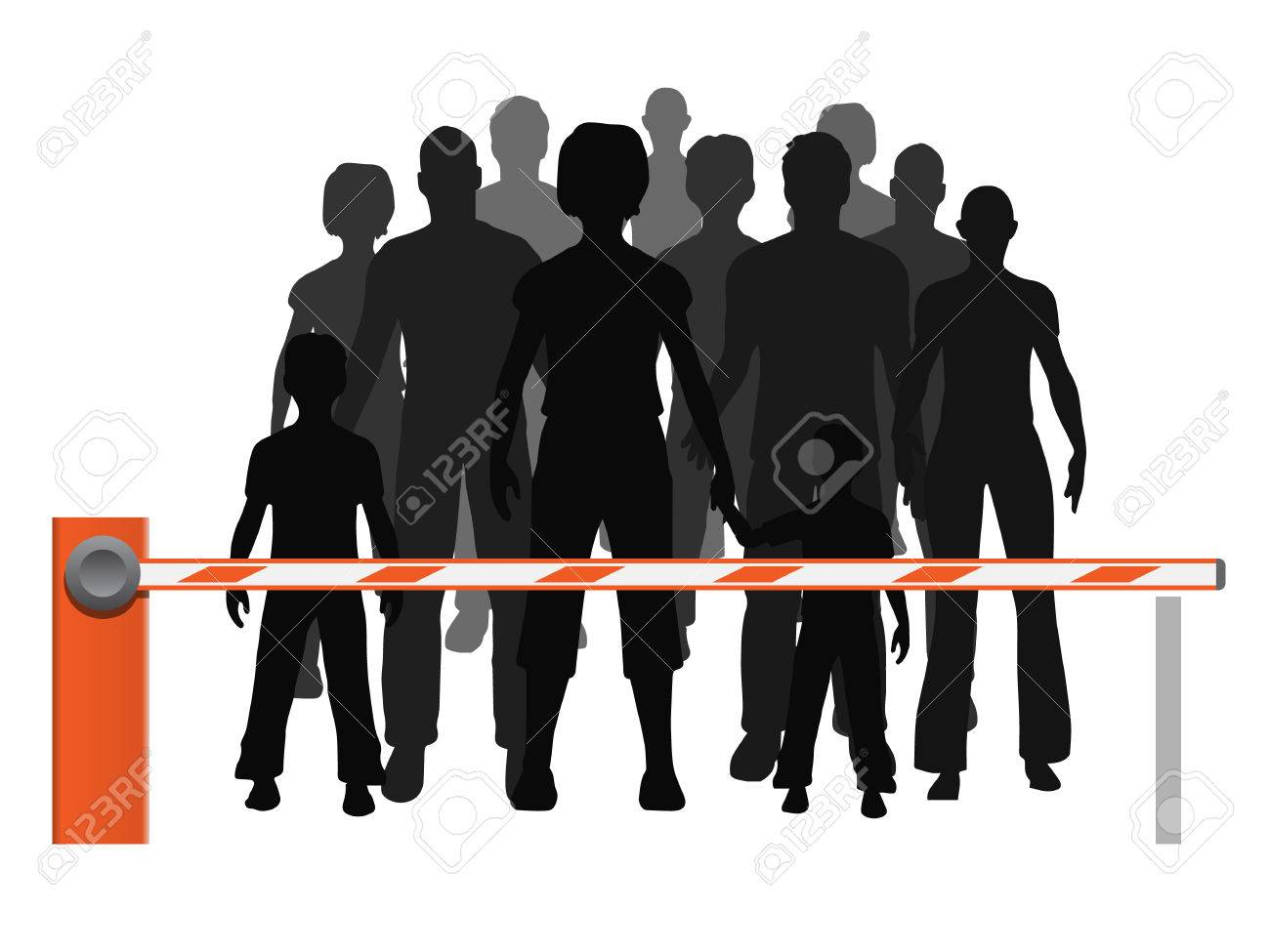 Men, women and children refugees are behind the barrier. Vector illustration about probleme refugees which are not allowed. Stock Vector - 45704112