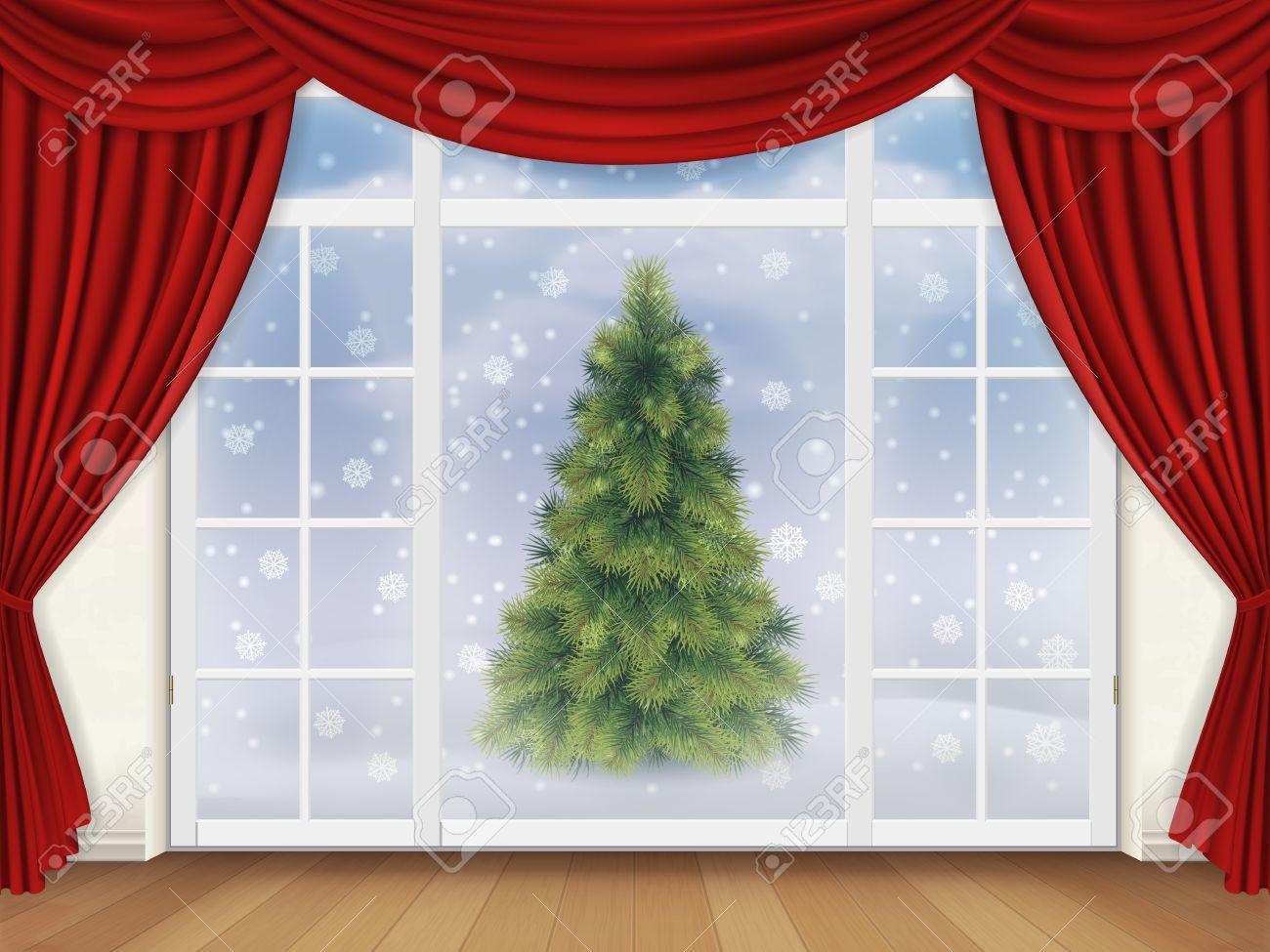 foto de archivo la vista desde la sala a travs de una ventana con cortinas rojas en la calle donde hay un rbol de navidad fondo de vector realista