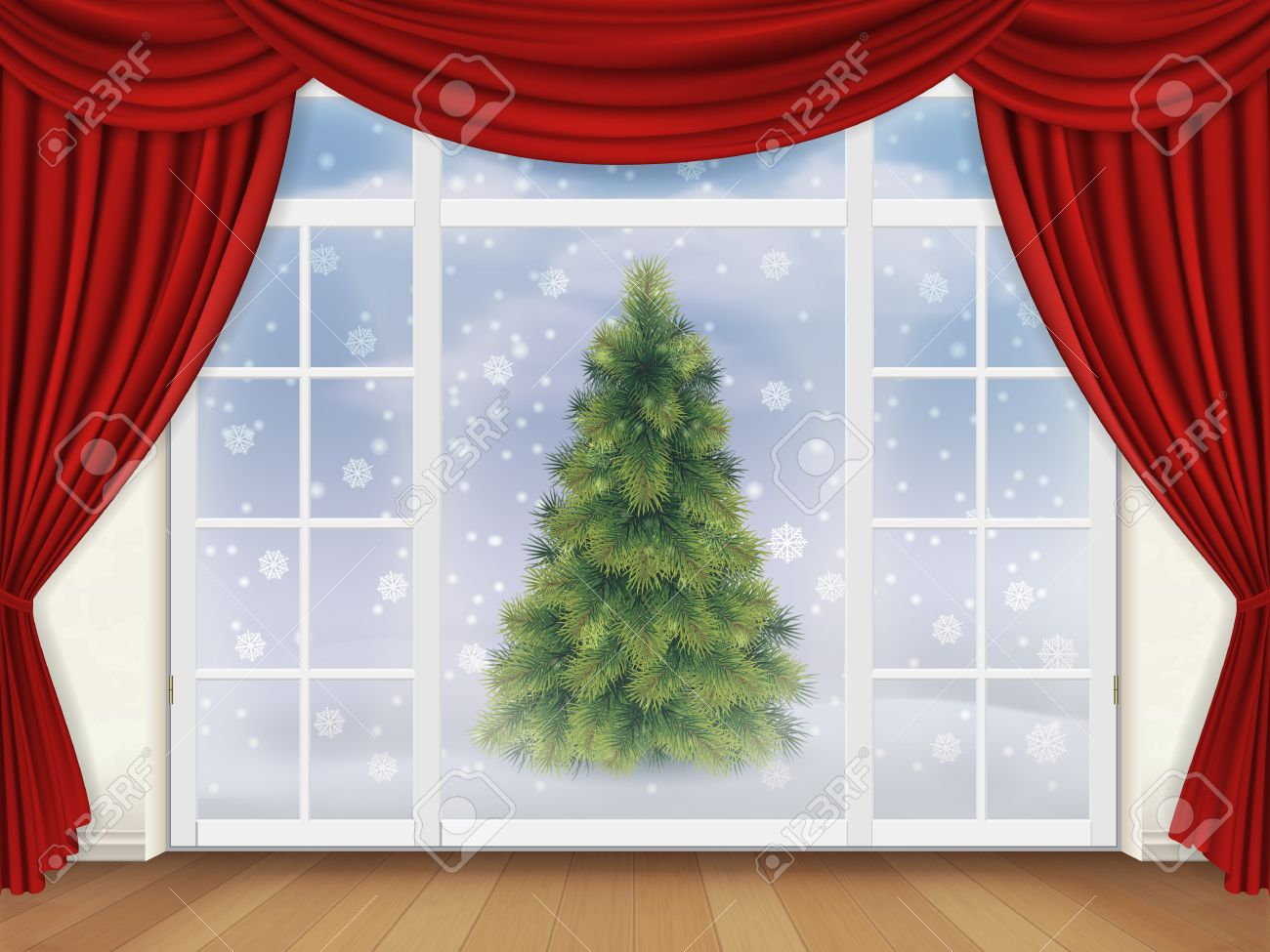 The View From The Living Room Through A Window With Red Curtains Royalty Free Cliparts Vectors And Stock Illustration Image 46456040