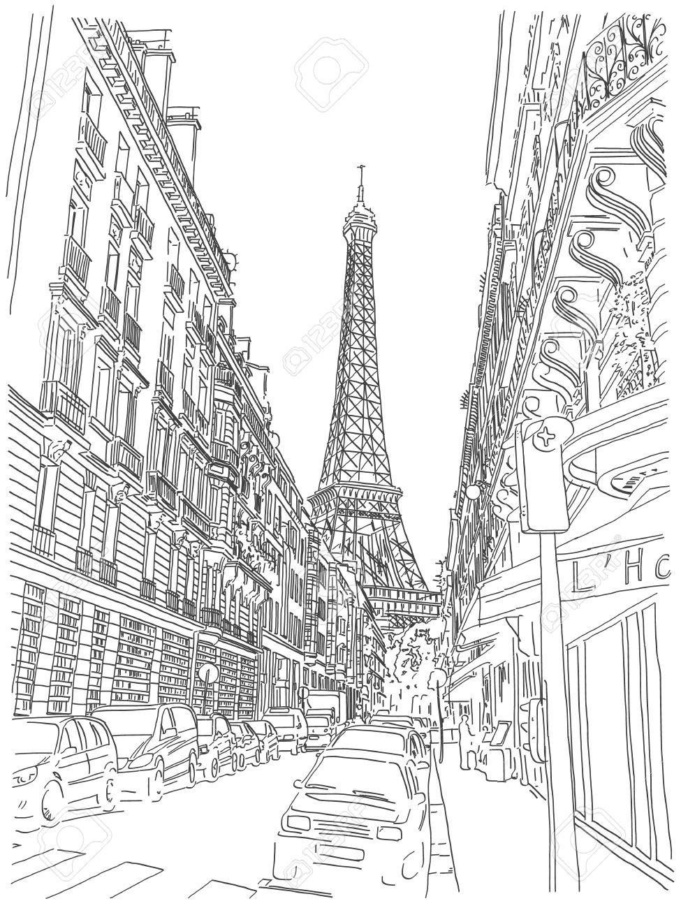 Vue De La Tour Eiffel Dans Les Rues De Paris Noir Et Blanc A La