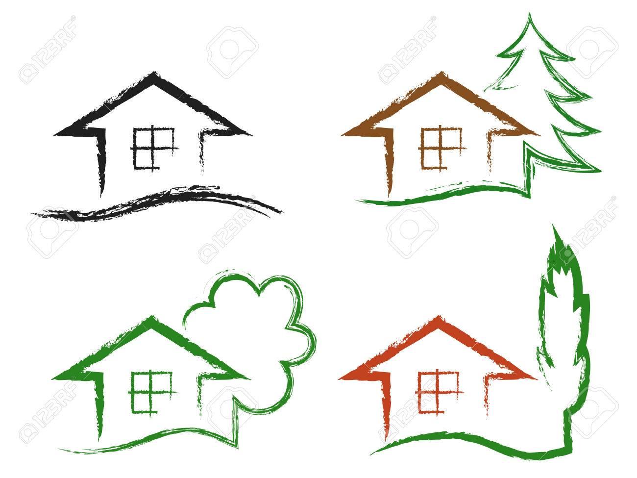 Banque dimages ensemble de quatre craie dessin icônes maison avec arbre isolé sur un fond blanc vecteur