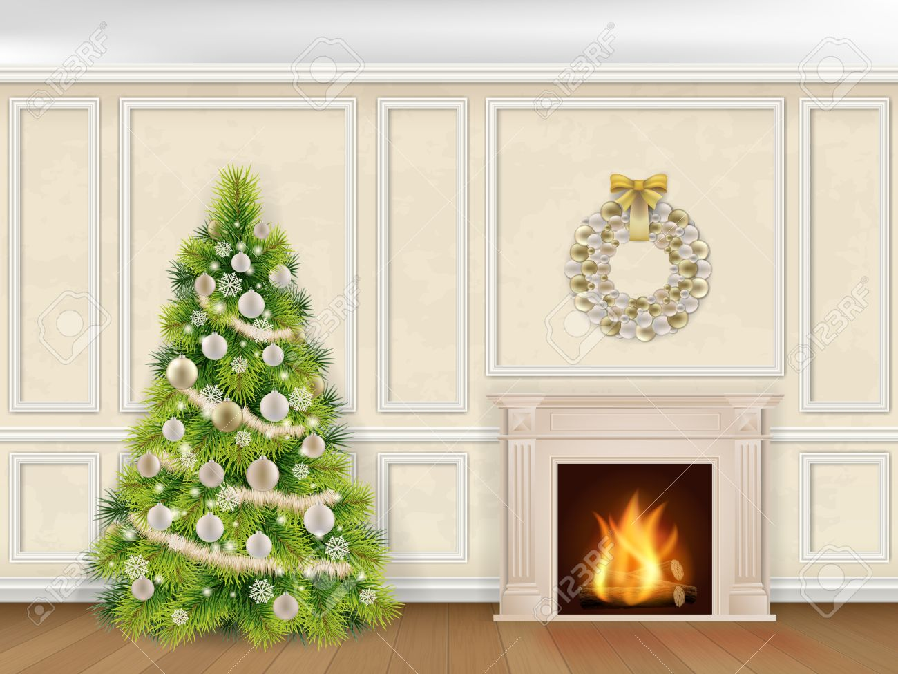 Christmas interior in classic style with fireplace and fir tree on wall decorated moulding panels background. Stock Vector - 47983623