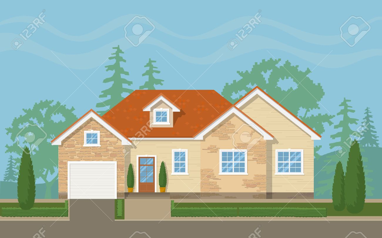 Traditional suburban house with the environment (sky,trees, lawn). Vector flat illustration. Stock Vector - 48284009