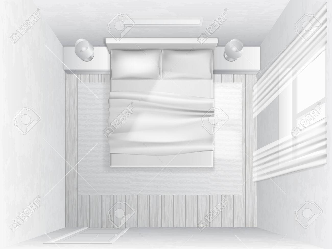 White bed top view - Vector White Bedroom With A Bed And Pillows Top View Vector Illustration