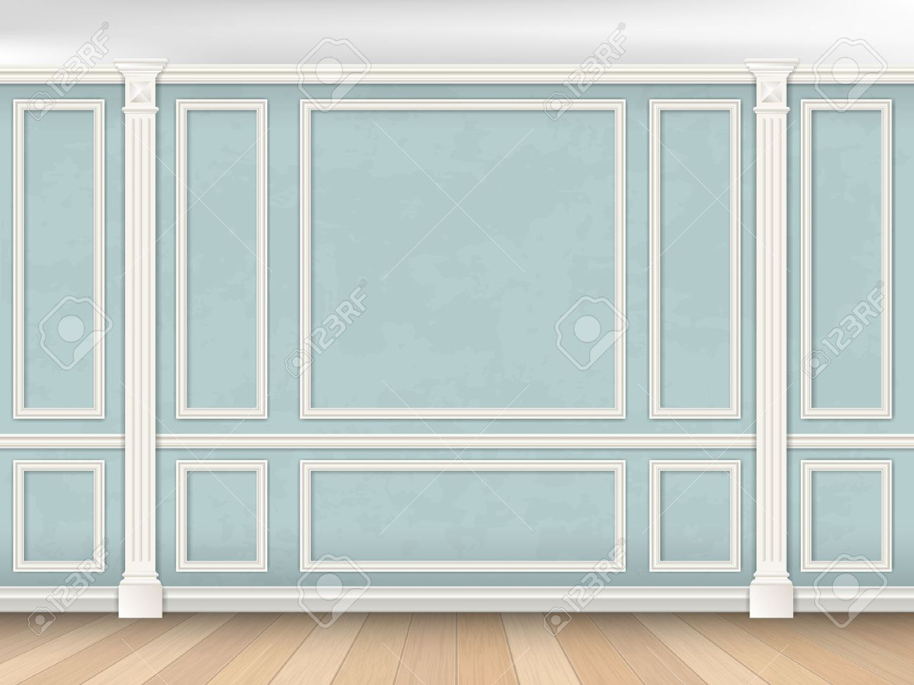 Blue wall interior in classical style with pilasters and moldings. Architectural background. Stock Vector - 49591214