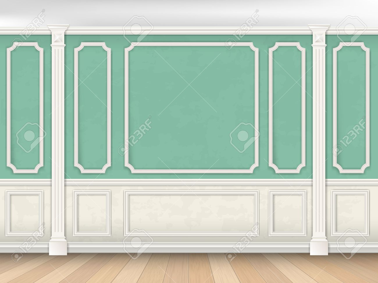 Green wall interior in classical style with pilasters and moldings