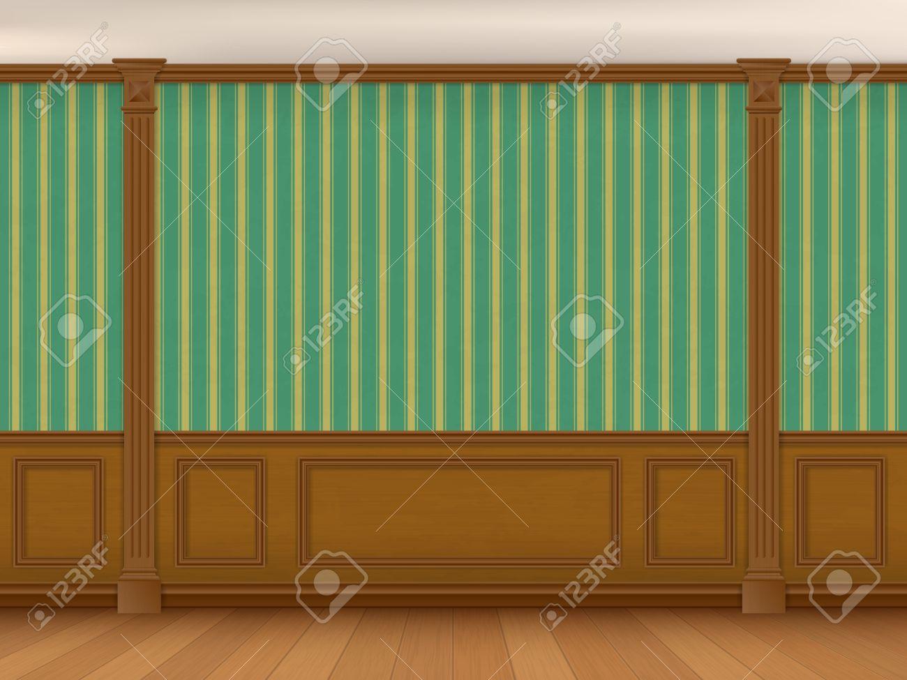 Fragment Des Nutzraum Im Klassischen Stil. Wand Mit Grün Gestreiften  Tapeten, Holzverkleidungen Und Pilaster