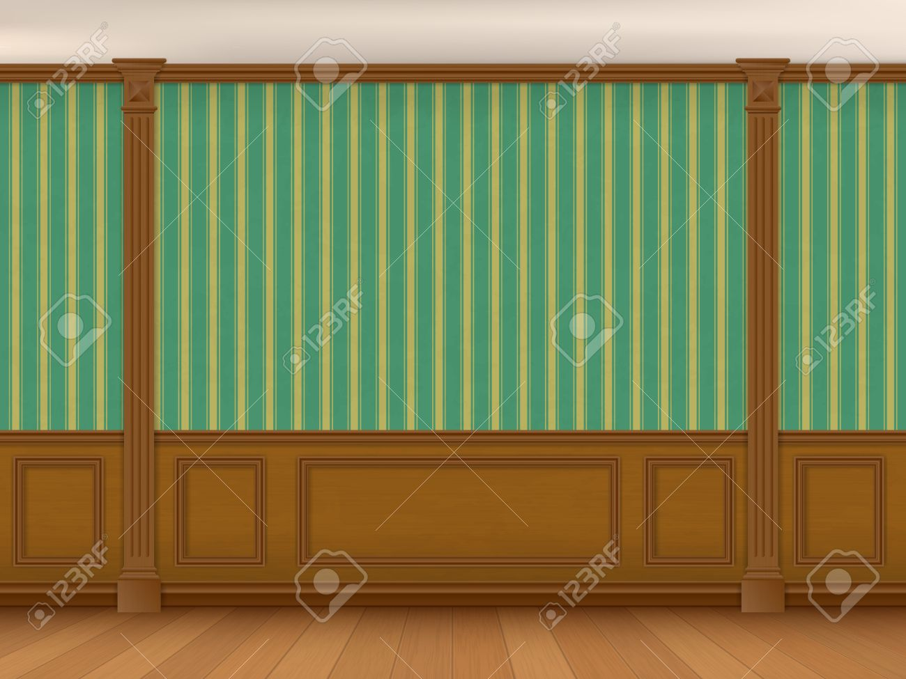 Fragment Of The Interior Cabinet In A Classic Style Wall With Green Striped Wallpaper