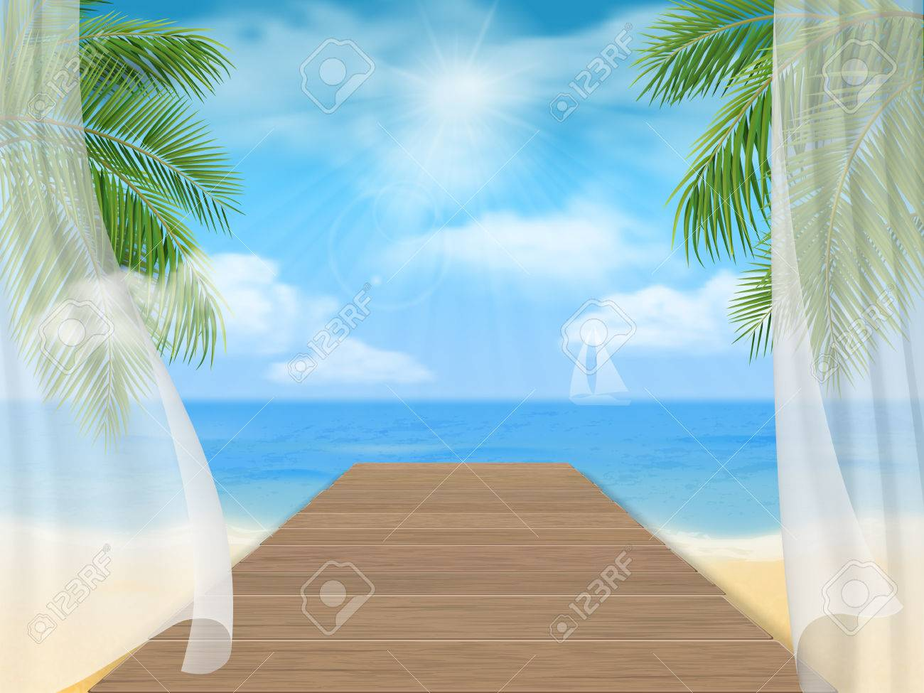 Open window beach - View Of The Sea Beach And The Wooden Jetty Through The Open Window With