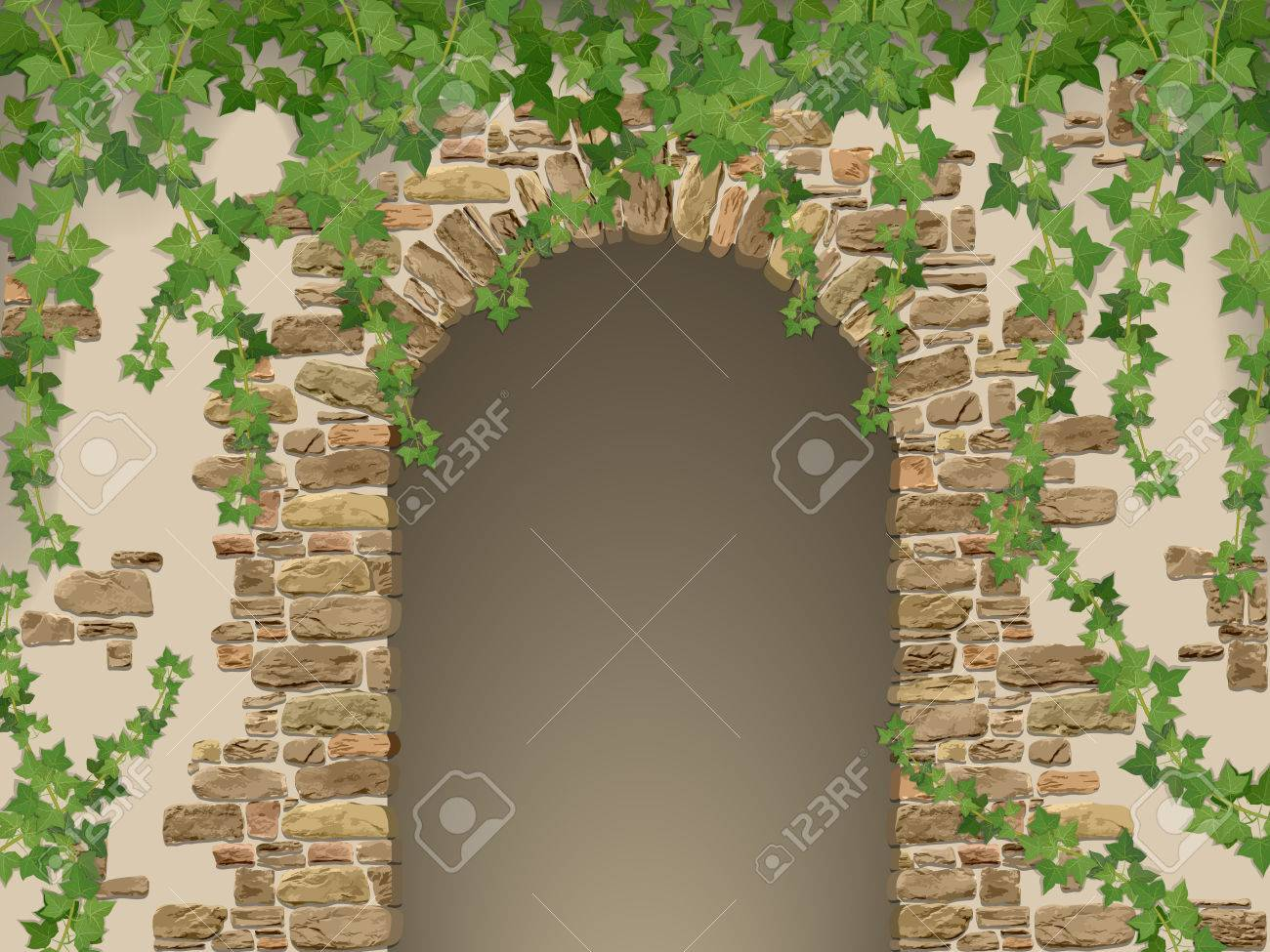 Arch of stones and hanging ivy. Entrance to the cave or cellar wreathed. - 51624231