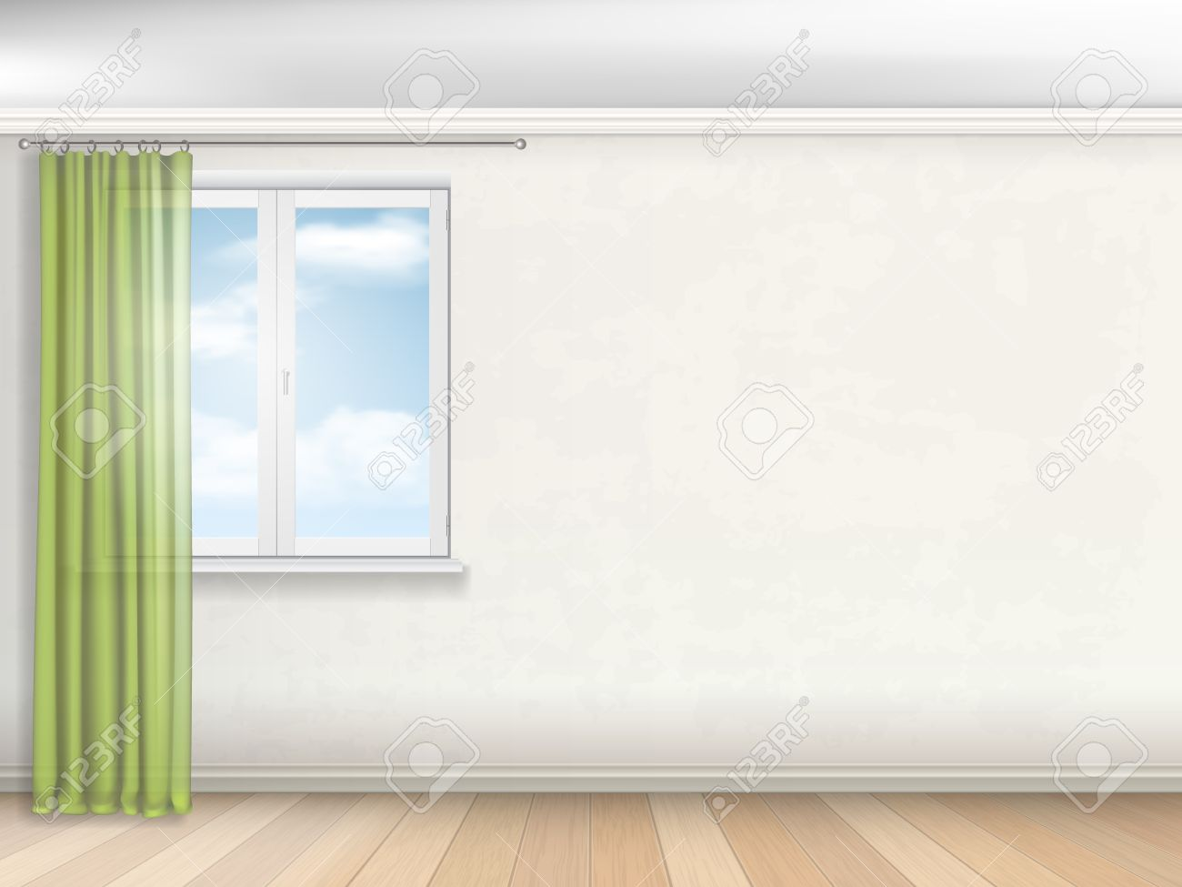 Interior Of Empty Room Window With Green Curtains On The Beige Wall Stock Vector