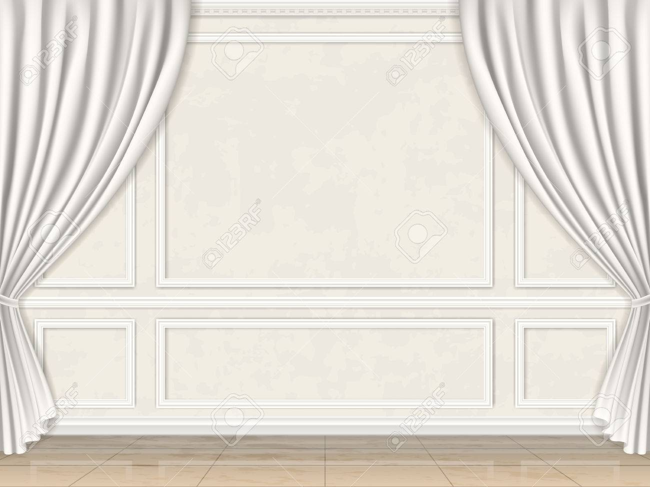 Vintage wall in classic style decorated panel mouldings and curtains. - 53523691