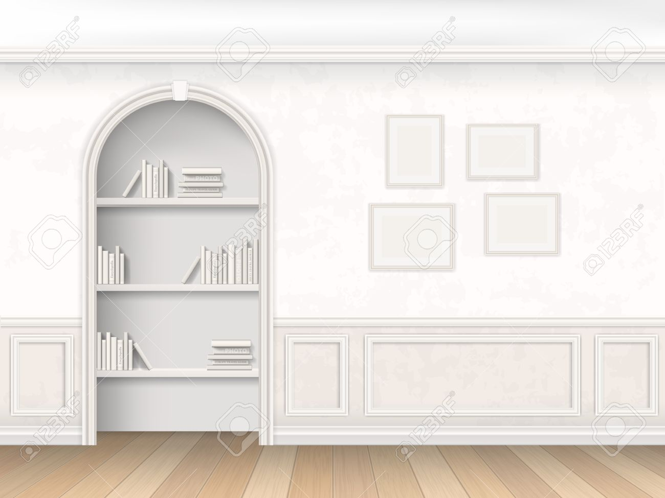 Decorative Wall Molding the wall room with arch, books and decorative wall panels
