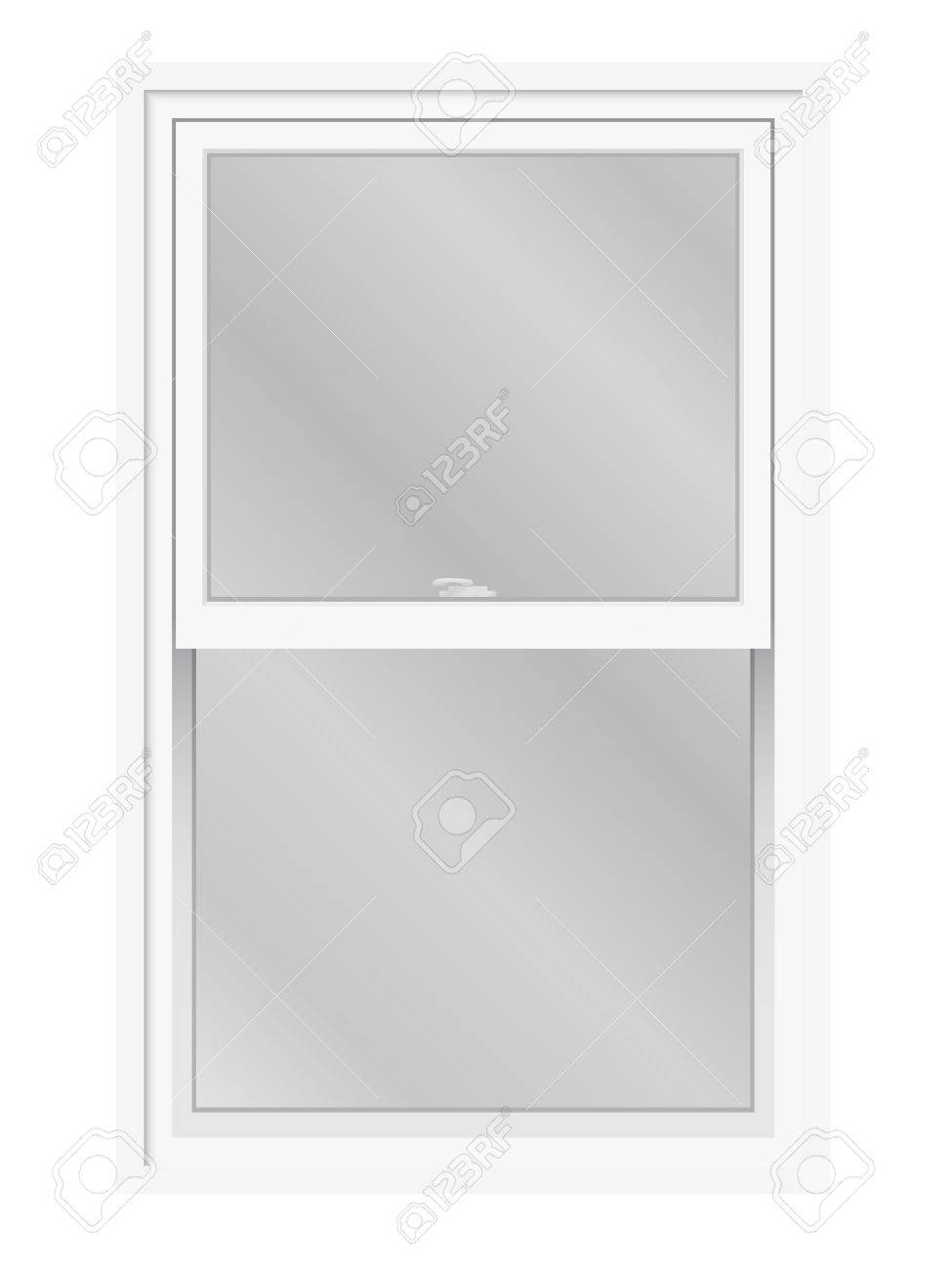 Double hung window isolated. Traditional English or American lifting, slider window, exterior view. - 55050095