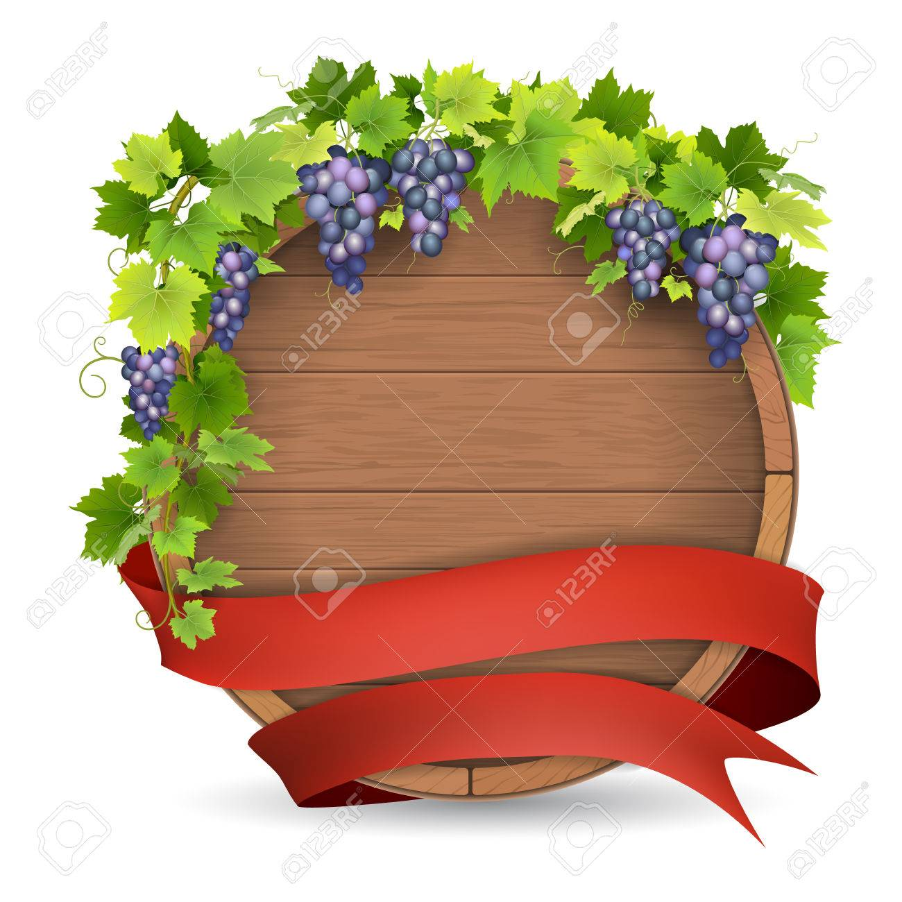 Wooden Barrel For Wine, Grapes Vine And Red Ribbon. Winemaking ...