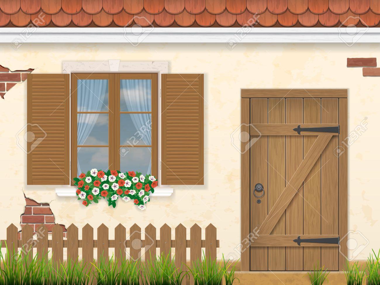 Old wooden door clipart - Barn Door The Facade Of The Old Building Wooden Window Door And Fence