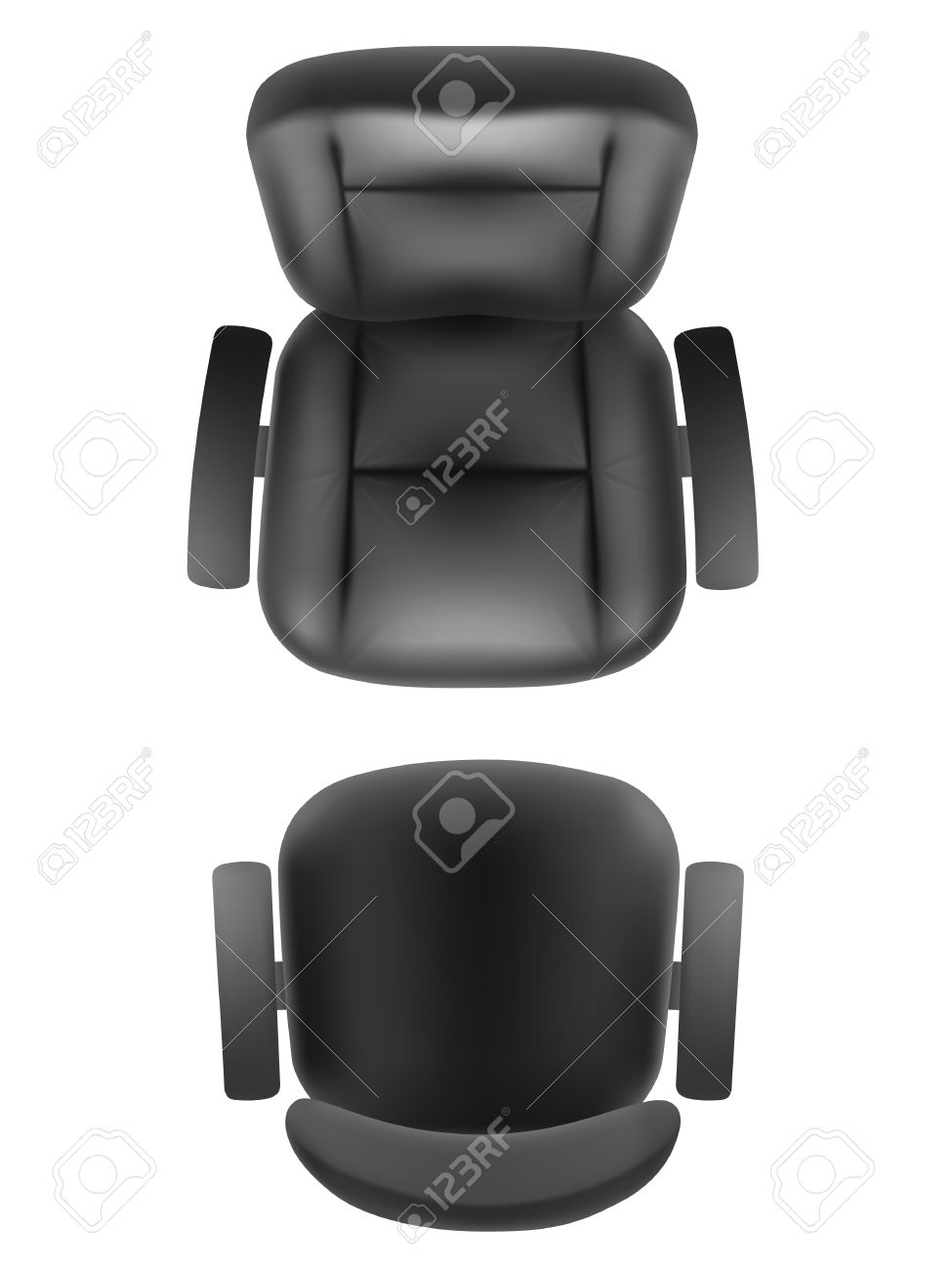 Office chair and boss armchair top view realistic, isolated. Furniture for office, cabinet or conference room plan. Stock Vector - 57014668