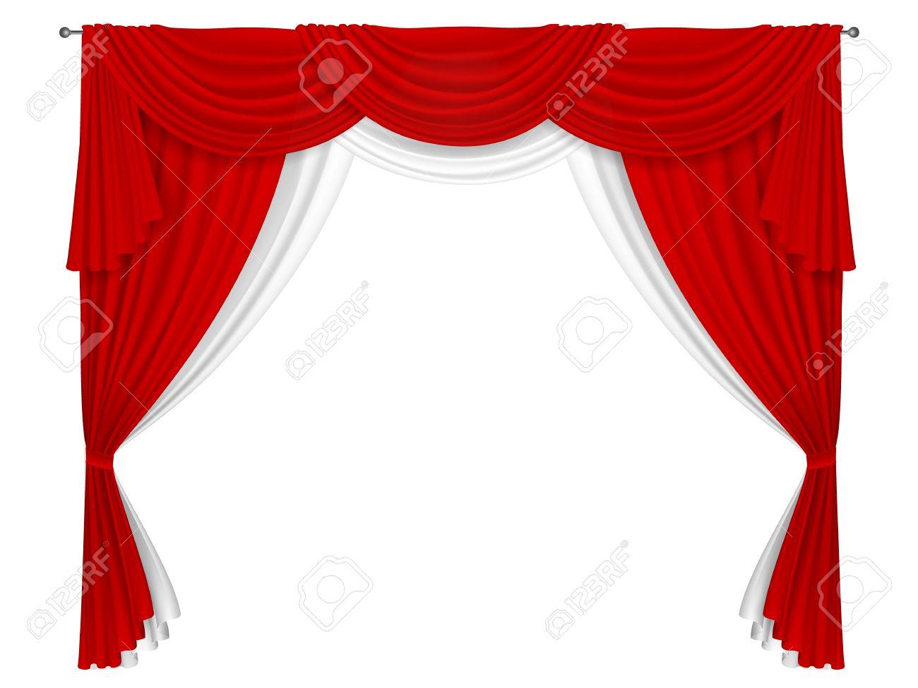 Rideau Rouge Et Blanc Classique. Rideaux Pour La Décoration De ...