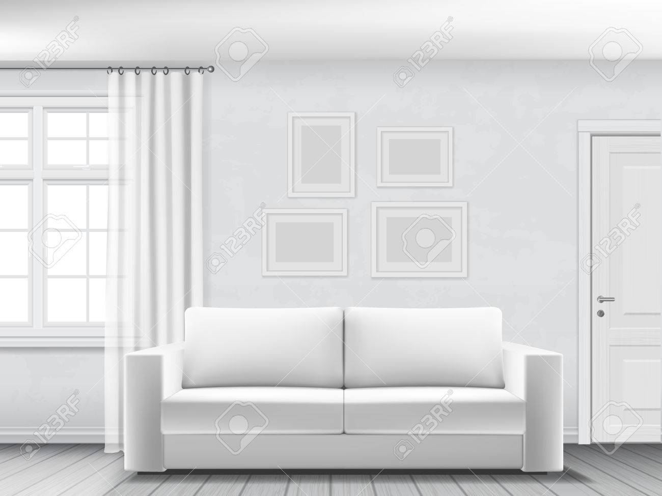 Realistic interior of living room with white sofa, window and door. - 61632947