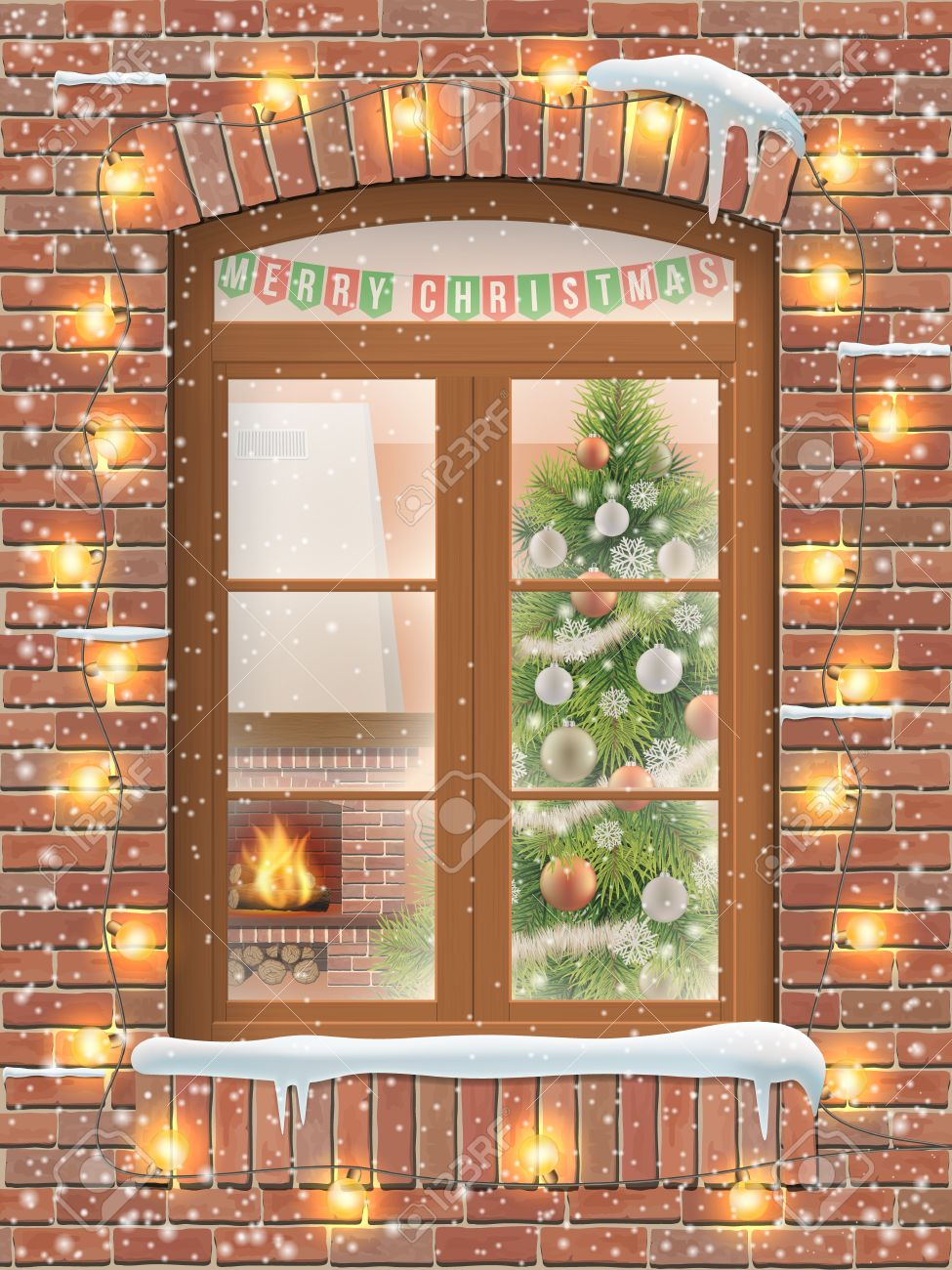 View through a window on the interior of a Christmas living room with the Christmas tree and fireplace. The brick facade of the house is decorated with a garland of light bulbs. - 65518889