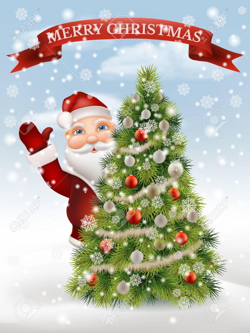Albero Di Natale E Babbo Natale.Vettoriale Babbo Natale Da Una Occhiata Da Un Albero Di Natale Decorato E Accolto Sullo Sfondo Di Un Paesaggio Invernale Carattere Di Natale Illustrazione Vettoriale Image 65518920