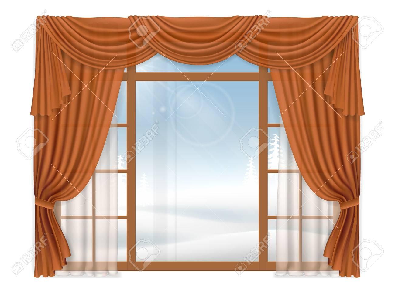 Ventana Con Cortinas Elegantes Y El Paisaje De Invierno Al Aire - Cortinas-elegantes