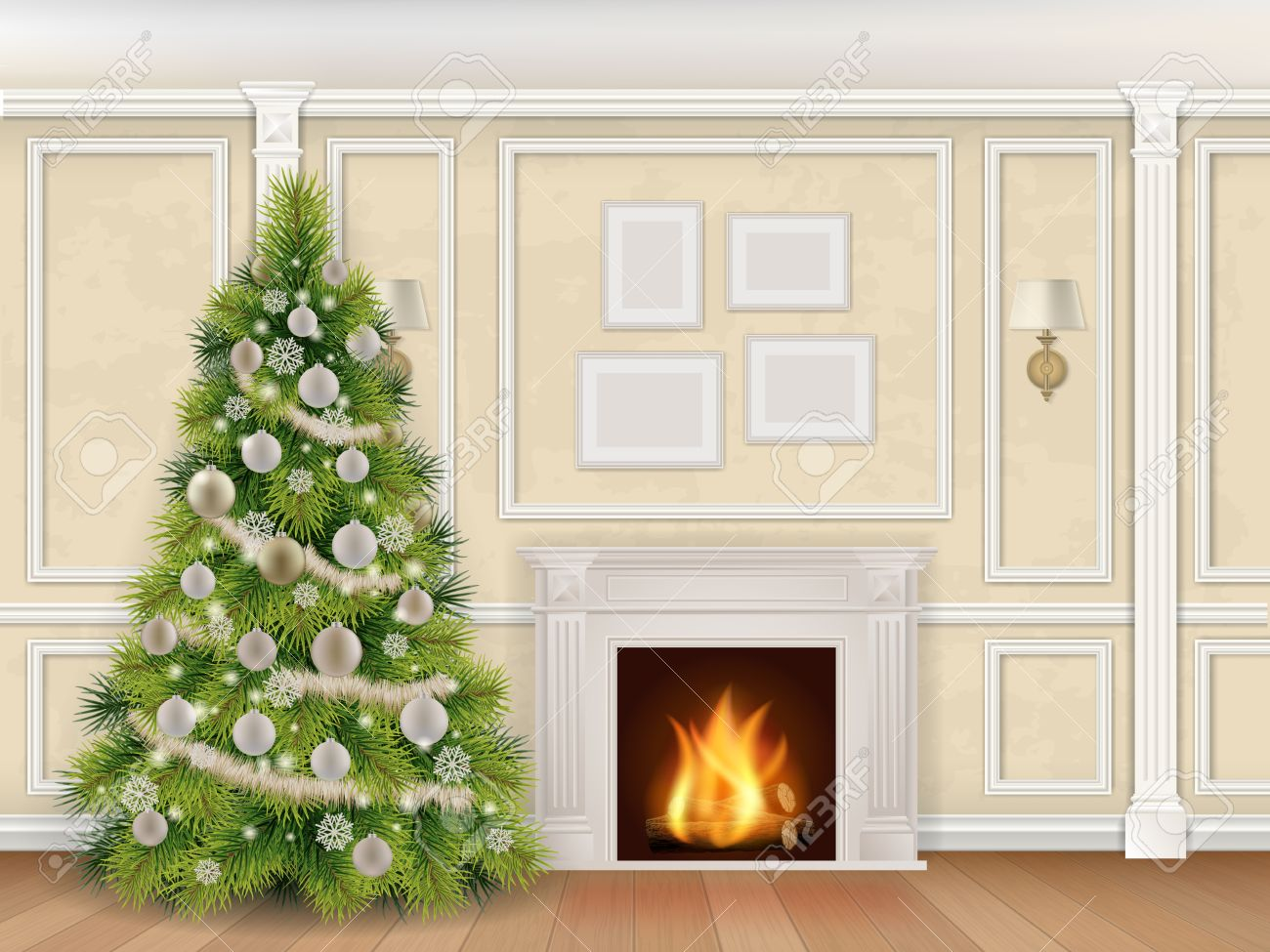 Luxury Interior Wall With Christmas Tree Fireplace And Pilasters ...