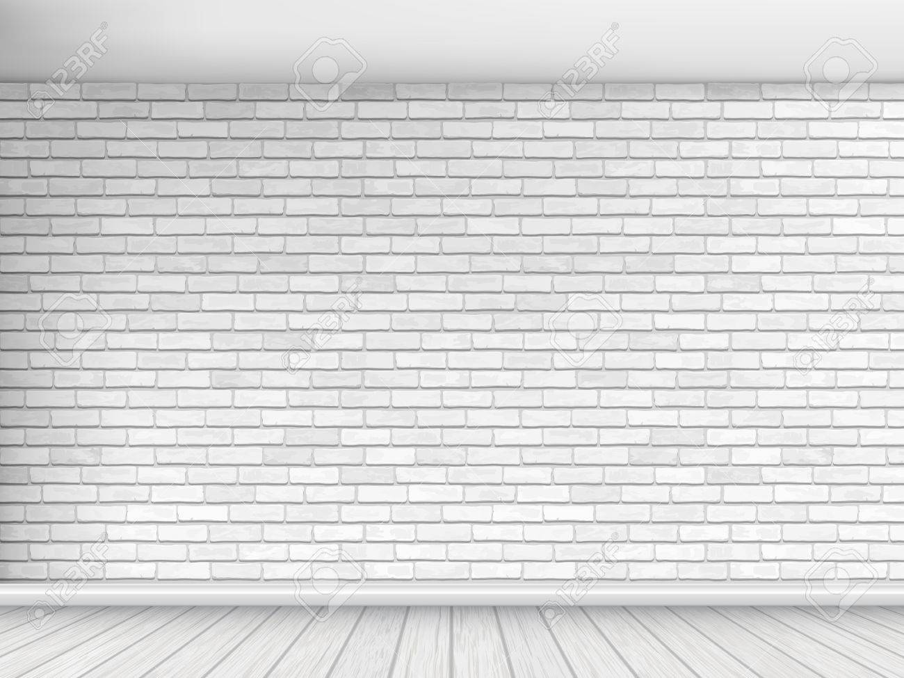 Old wall of white brick with floor and ceiling. Fragment of the interior. Architectural vector background. - 66919255