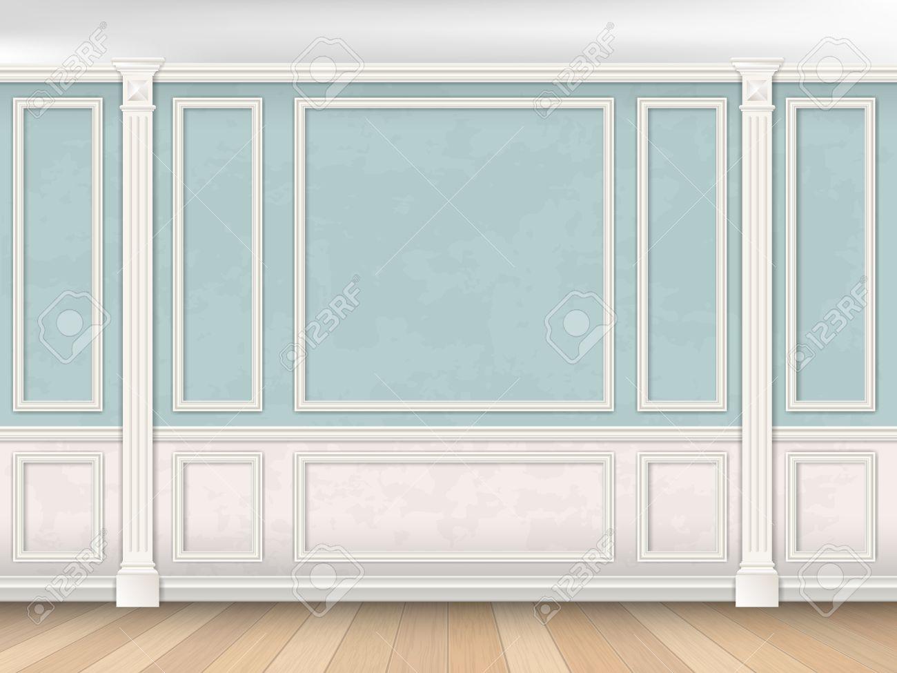 Intérieur Du Mur Bleu Dans Un Style Classique Avec Des Pilastres ...