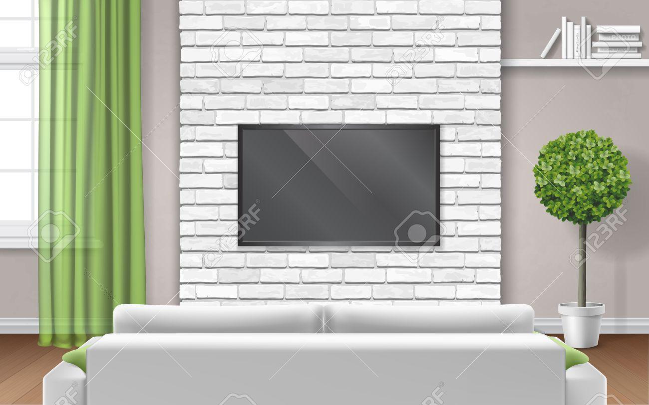 Light Modern Living Room Interior With TV On White Brick Panel ...