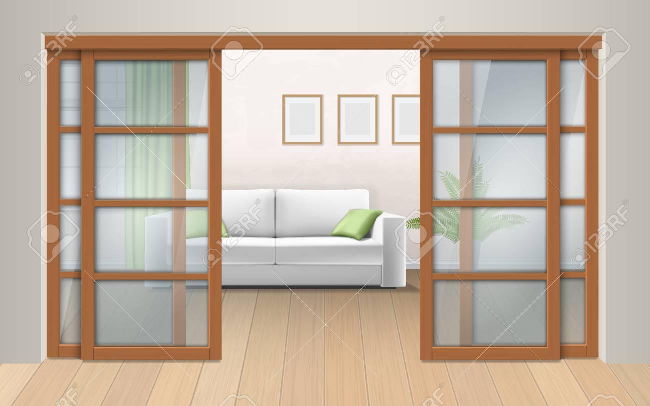 Interieur De Salon Avec Portes Coulissantes Entree Dans La Salle Du Couloir Vector Illustration Realiste