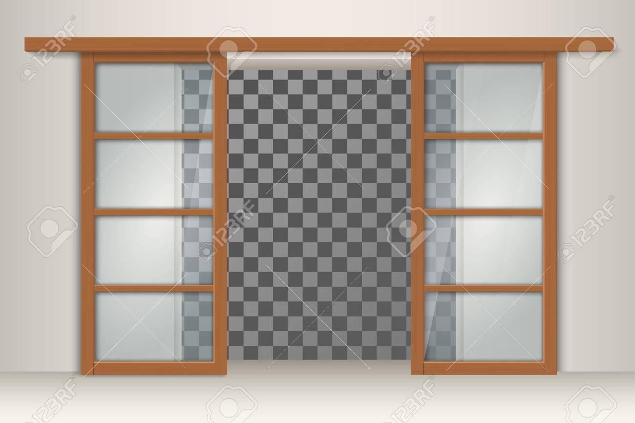 Schiebetüren Aus Holzrahmen Mit Leerem Transparentem Raum Im Inneren ...